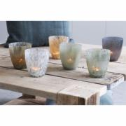 Lot de 3 Photophores - Verre Gris metallic